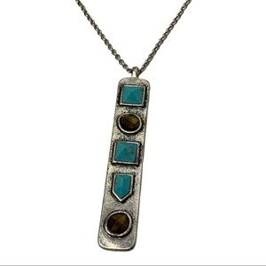 LUCKY BRAND Turquoise Long Pendant Necklace Silver